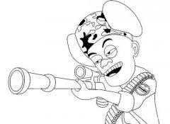 小学生光头强人物简笔画图片:射击的光头强