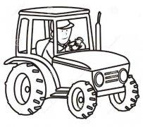 开拖拉机简笔画图片