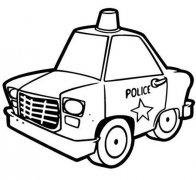 小学生警车简笔画图片