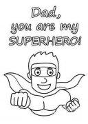 幼儿园可爱卡通父亲节简笔画图片:我的爸爸是超人