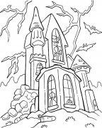 万圣节幽灵城堡简笔画图片