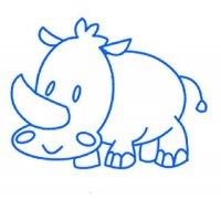 儿童可爱小犀牛简笔画图片