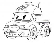 变形警车珀利皮卡车马克简笔画图片