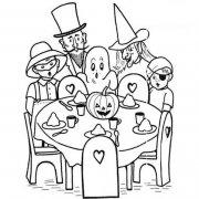 幼儿万圣节主题简笔画图片:一家人过万圣节