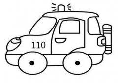 警车越野车简笔画图片
