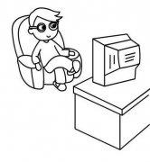 小学生看电视简笔画图片