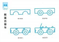 敞篷吉普车简笔画画法教程