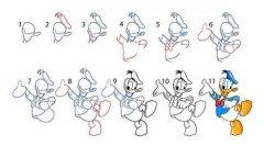 唐老鸭简笔画教程步骤图解:怎么画唐老鸭