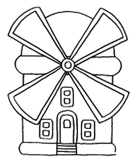 幼儿园卡通风车房子简笔画图片