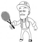 少儿光头强简笔画图片大全:拿网球拍的光头强