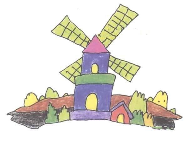 儿童彩色风车房子简笔画图片大全
