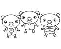 三只小猪简笔画图片