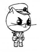 儿童Q版黑猫警长简笔画图片