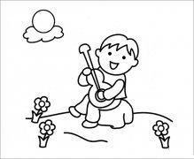 小男孩弹吉他简笔画