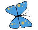 蓝色花蝴蝶简笔画步骤画法教程