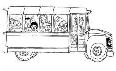 坐满学生的校车简笔画图片大全