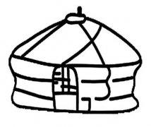 关于蒙古包帐篷简笔画图片