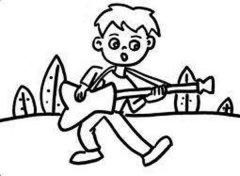 男孩弹吉他简笔画图片
