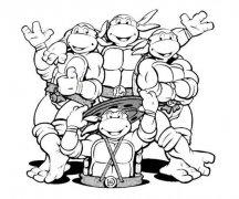 儿童忍者神龟简笔画图片大全
