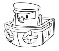 变形警车珀利邮轮马林简笔画图片
