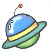 儿童彩色科幻画飞碟简笔画图片