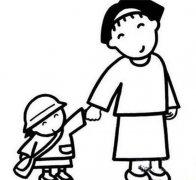 幼儿园中班开学简笔画图片:妈妈陪我去上学