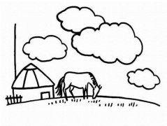 儿童风景简笔画图片:草原蒙古包