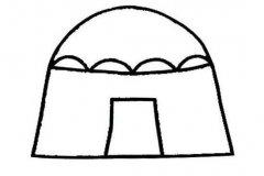 儿童简单的蒙古包简笔画图片