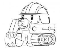 变形警车珀利挖掘机波克简笔画图片
