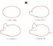 手绘猪的简笔画画法