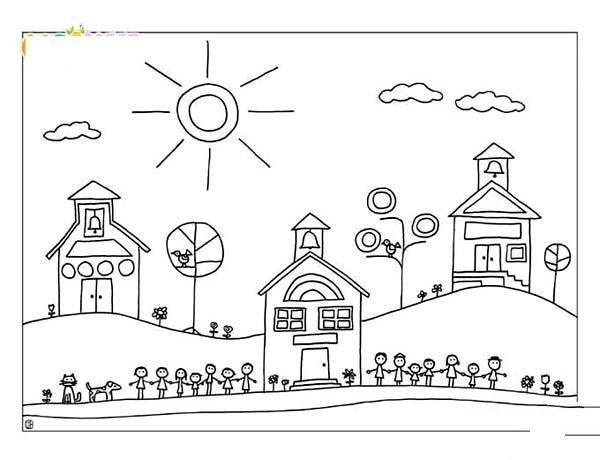 可爱的开学主题简笔画图片大全:手拉手欢迎你