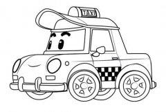 变形警车珀利出租车凯普简笔画图片