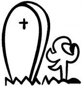 万圣节坟墓简笔画图片