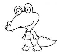 小学生卡通鳄鱼简笔画图片