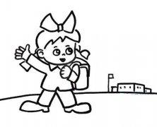 关于新学期开学的简笔画图片:女孩开心去学校