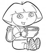 儿童关于朵拉看书简笔画图片