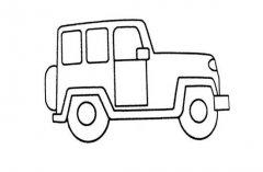 交通工具简笔画:吉普车