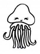 儿童可爱卡通水母简笔画图片