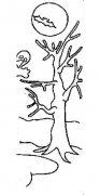 儿童万圣节大树简笔画图片