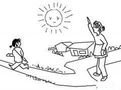 简单的开学主题简笔画图片:告别妈妈上学去