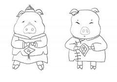 2019年猪年元旦简笔画图片:两只小猪庆元旦