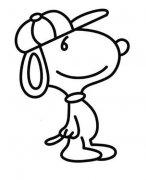 戴帽子的史努比狗狗简笔画图片