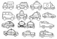 世界各国的警车简笔画图片大全