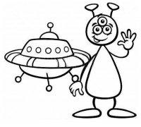 飞碟与外星人简笔画图片