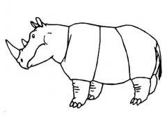 幼儿犀牛侧面简笔画图片