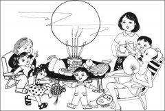 一家人吃月饼简笔画图片