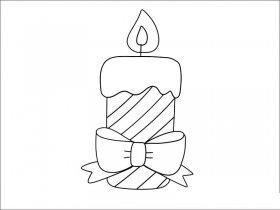圣诞蜡烛简笔画