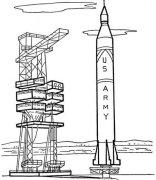 发射井准备发射的火箭简笔画图片