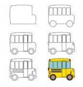 校车简笔画教程步骤图解大全:怎么画幼儿园校车