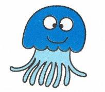 儿童彩色卡通水母简笔画图片